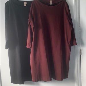H&M+ 3-4 Sleeve Boatneck Midi Shift Dress
